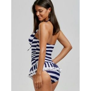 1f3443ebef Beach party skirted one piece Stripes
